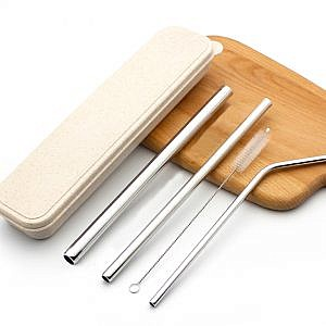 Stainless Steel 3-pc Straw set with brush & box