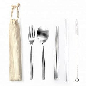 Stainless Steel 5pcs Cutlery set with Straw
