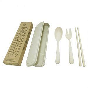 Straw Wheat Cutlery Set in box